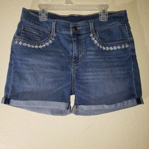 Levi's Floral Embroidered Jean Shorts Stretchy 28